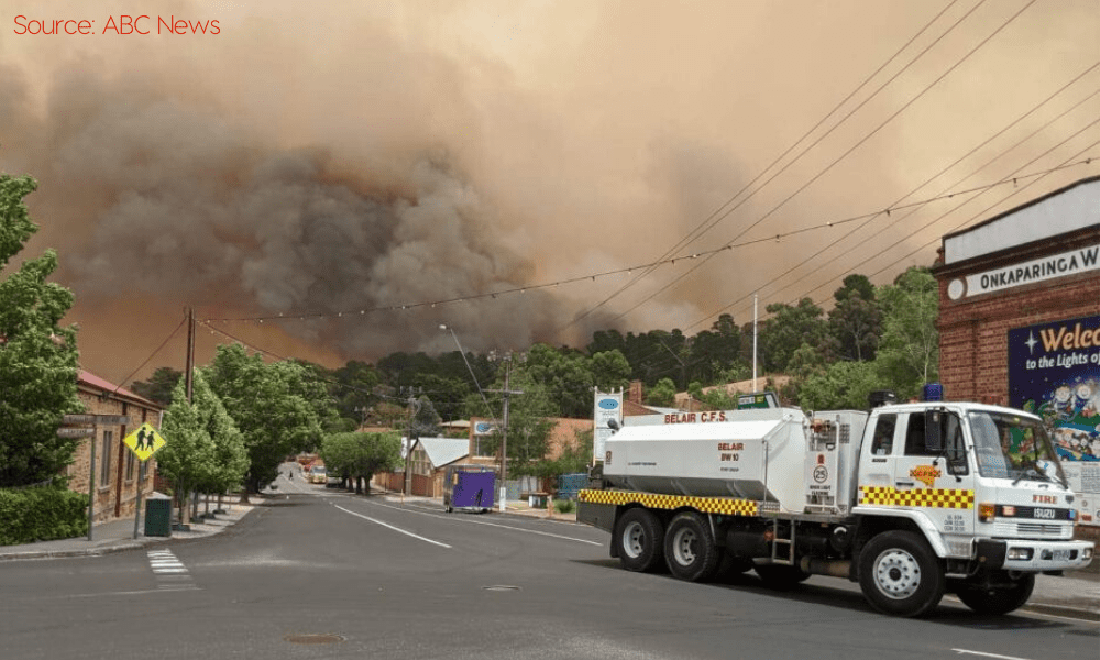 Lobethal Surrounded by Smoke and Bushfire